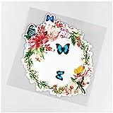 WYZDGTD Sticker de Carro by Calcomanías de decoración de Ventana con Corona de peonía y Mariposa Pegatinas clásicas para Coche Accesorios 2 Piezas 19.4 × 19.4 cm
