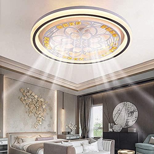 OUJIE Ventilador De Techo con Iluminación, Lámpara LED De Ventilador con Control Remoto, Lámpara De Techo Moderna Regulable, Lámpara De Ventilador De Comedor Dormitorio,Round