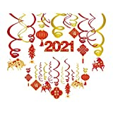 30 Pieces Chinese New Year 2021,Chinese Red Lanterns,Chinese Knot Hanging Swirl Decorations,Year of The Ox Festival Decorations for Party,Together,Celling,Home,Office,Bedroom
