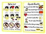 kids2learn House Rules & Good Behaviour Poster A4 Bundle - Educational Nursery SEN Children Kids Childminders
