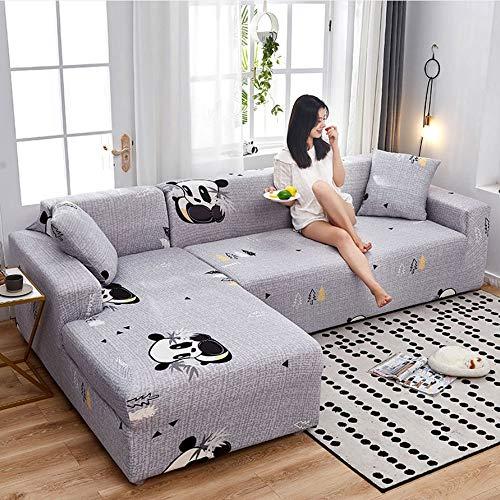 AYWJ Sofá Funda Antideslizante Estiramiento Rejilla geométrica Funda para sofá Impresa Poliéster Suave con Fondo elástico Sofá Universal con Cubierta (Color : Color 2, Size : AA 235 * 300cm)