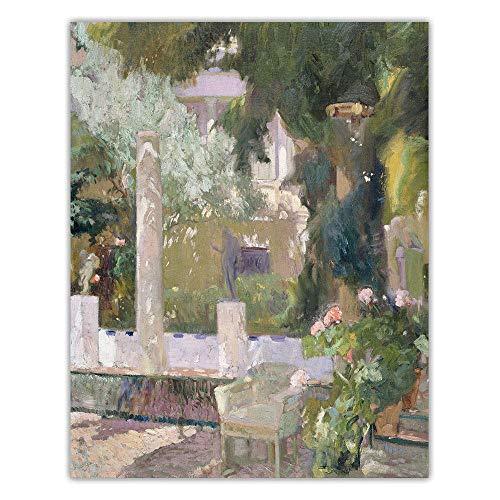 Joaquin Sorolla Canvas Oil Pintura Garden Landscape Poster Prints Abstract Wall Art Cuadros Vintage Poster Living Room Bedroom Decor 40x50cm No Frame