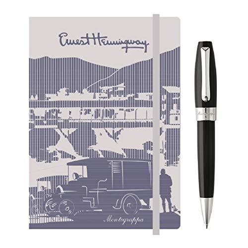 Kit scrittura Penna + Notebook MONTEGRAPPA Fortuna Penna Sfera a Rotazione, placcato Palladio & Nero + Taccuino Hemingway con elastico