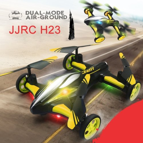 Sconosciuto Generic JJR/C H23 Flying & Car Headless Mode 2.4GHz 6 Axis Drone RC Quadcopter with Remote Control(Yellow)