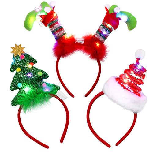 URATOT 3 Pack Christmas LED Headbands Christmas Tree Costume Headwear Elves Hair Hoop for Xmas Party Supplies