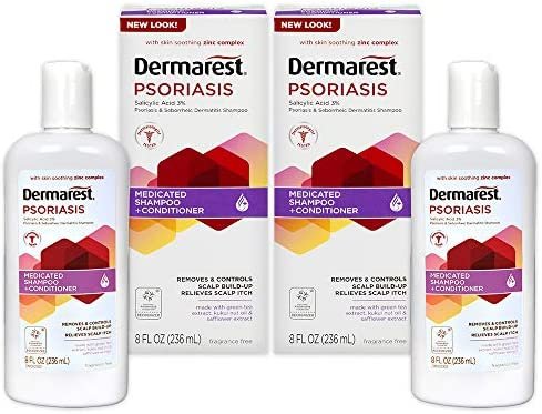 Dermarest Psoriasis Medicated Shampoo and Conditioner, Unscented, Dermatologist Tested, 8 ounces, (Pack of 2)