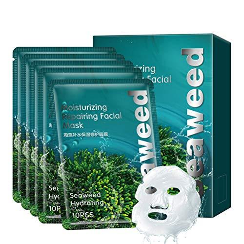 Naugust Masque 3D Hydratant Aux Algues Masque Facial Hydratant Et Hydratant pour Le Vieillissement Cutané Rides Pores Dilatés Sécheresse Lifting Et Hydratation Hydratation de La Peau 10 Comprimés