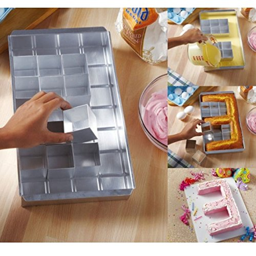 Alphabet Cake Pan with Letter and Number Diagram