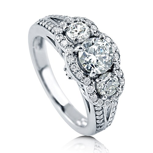 BERRICLE Rhodium Plated Sterling Silver Round Cubic Zirconia CZ 3-Stone Anniversary Engagement Split Shank Ring 1.7 CTW Size 7.5