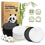 22 Stück Abschminkpads Waschbar, Wiederverwendbare Wattepads aus Bambus und Baumwolle, Make up...