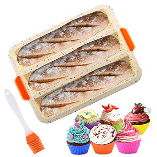 PEIPONG Brotbackform, Baguette Backform, Baguette-Blech für 3 Baguettes, Silikon Brotbackform, mit Antihaftbeschichtung, 6 Pcs Silikon-Muffinförmchen, 1 Pinsel