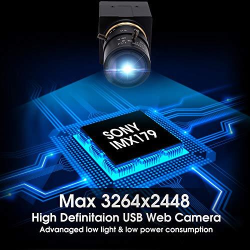 SVPRO 8MP USB Webcam 2,8-12 mm Zoom Kamera Varifokallinse IMX179 Sensor, High Definition Webcam HD 33264x2448 Kamera für IR Schnitt USB 2.0 UVC Unterstützung OTG