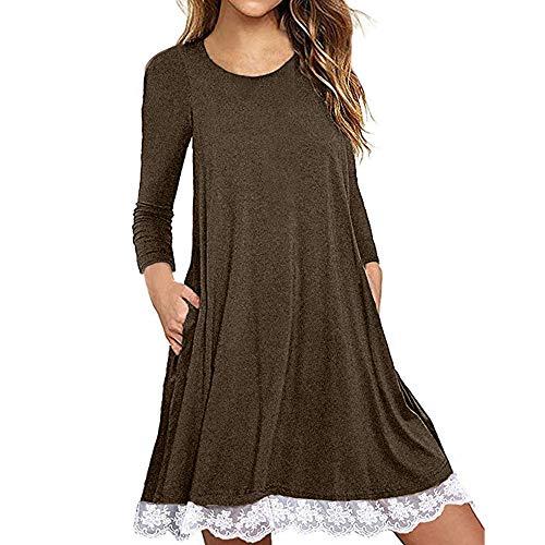 IZHH Damen Kleider Long Sleeve Lace Bag Hüfte Kleid Frauen Baumwollspitze T Shirt Kleid mit Taschen Spitze Hem Party tägliche Kleider(Kaffee,XXXXX-Large)