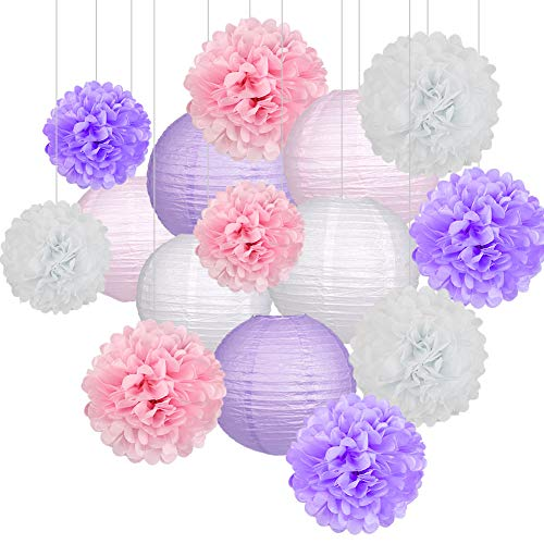 15Pcs Party Pack Paper Lanterns and Pom Pom Balls Hanging Decoration for Halloween Wedding Birthday Baby Shower-Light Pink/Lavender/White