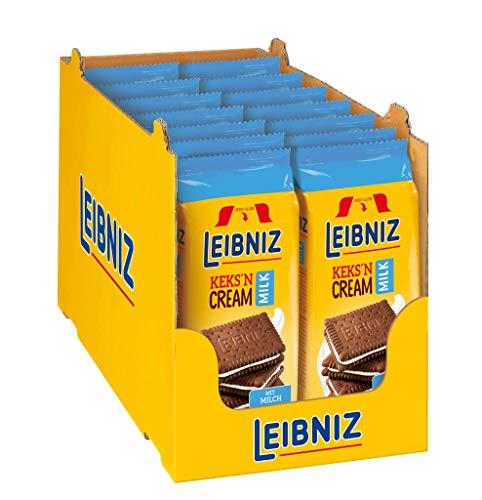 Leibniz Keks'n Cream Milk 14er Pack - zwei schokoladige Kakaokekse mit Milchcremefüllung - Schokoladenkekse - Wiederverschließbar (14 x 190 g)