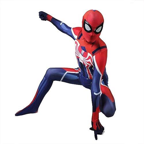 DFRTYE Erwachsene Kinder Spider-Man Halloween Cosplay Superheld Verkleidung Kostüm Mask 3D Print Spandex Spiderman Body,Men-S