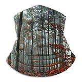 Rojo bosque árboles otoño niebla mañana moda caliente esquí microfibra cuello calentador