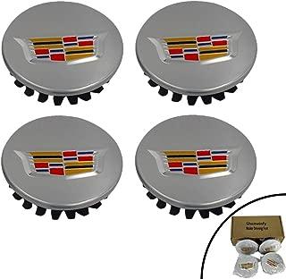 Shenwinfy 2.56 Inch 3D Wheel Center Hub Caps for 2004-2009 Cadillac, 65mm Chrome Center Cap Emblem for ATS CTS DTS SRX XTS XLR Wheels 9595010 4PCS (Silver)