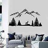 Hermosa naturaleza tatuajes de pared ciervos montaña animales salvajes árboles bosque pegatinas de vinilo arte de la pared dormitorio sala de estar decoración del hogar mural