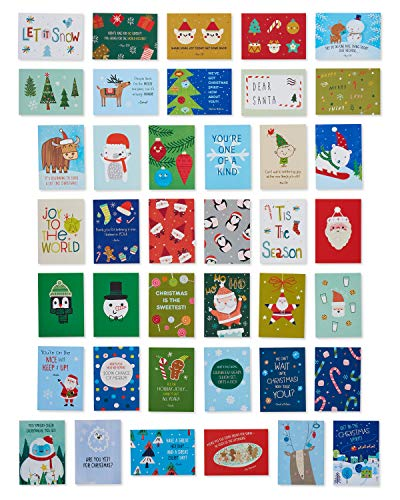 American Greetings Christmas Lunch Box Mini Notes for Kids, Santa and Friends (40-Count)