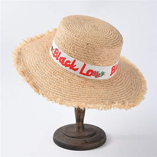TYMDM Sonnenhut Bast-Sonnenhüte Für Frauen Beschriften Weiblichen Natürlichen Strohhut des Rauen Strandhutes Mit Breiter Krempe