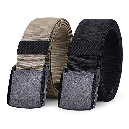 WHIPPY 2 Pack Elastic Stretch Belt for Men, Nickle Free Hiking Nylon Belt in YKK Buckle (Black Khaki, Fit Pants Below 35 Inches)