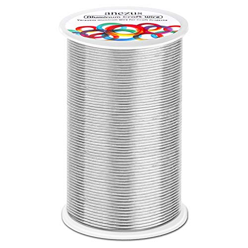 540 Feet Aluminum Wire, Anezus Bendable Craft Metal Wire 18 Gauge Flexible Beading Wire for Wreath Making Jewelry Making Floral (Silver, 1mm)