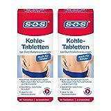 SOS Kohle-Tabletten, Kohletabletten bei Durchfallerkrankungen, Vergiftungen durch Nahrungsmittel, Durchfall Tabletten ideal für die Reiseapotheke, 2 x 30 Tabletten