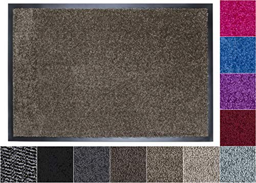 Jan Max Schmutzfangmatte - 8 Farben - Fußmatte mit 2900g/m2 PP Twisted Heatset Faser - 2,4l/m2 Feuchtigkeitsaufnahme - Sauberlaufmatte Taupe-beige 90 x 150 cm Taupe-Beige