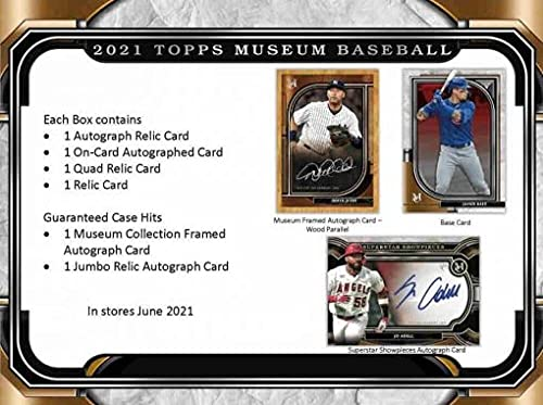 2021 Topps Museum Collection Baseball Hobby Box (4 Packs/5 Cards: 1 Auto)