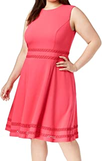 Calvin Klein Women's Plus Size Sleeveless Round Neck Fit and Flare Dress with Sheer Inserts at Hem