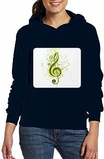 ミュージシャングリーン?トレブル?クレフ Women Pocket Hoodie Sweater レディーズ トップス パーカー アクティブウェア