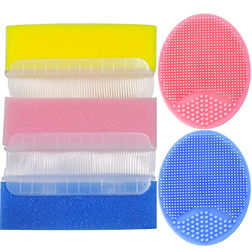 Baby Bath Brush, Cradle Cap Brush, Baby Bath Sponge Brush, Baby Care Essential for Dry Skin, Cradle Cap (Blue&Pink&Yellow)