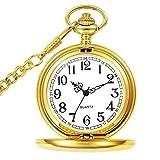 Orologio da tasca con catena, classico vintage quarzo ciondoli orologi taschino per Dad/Grandfather/nonno, orologio da tasca da uomo come retro regali per la festa del papà/anniversaire/Noël (Oro)