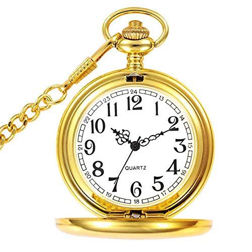 Reloj de Bolsillo para Hombre con Cadena, Colgante de Cuarzo Relojes de Bolsillo para papá/Abuelo como Regalo Retro para el día del Padre, cumpleaños, Aniversario, Navidad (Gold)