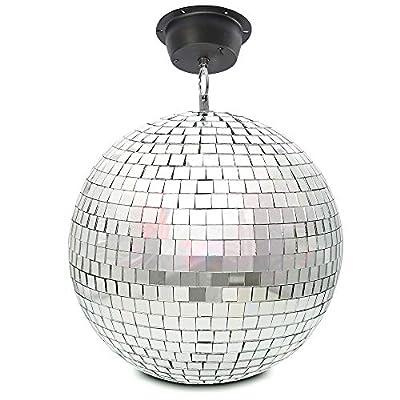 "BeamZ MB30M Silver Mirror Ball with Motor, Lightweight Glass Hanging 12"" 30cm Wedding DJ Prom Disco Dance Party Glitter Ball"