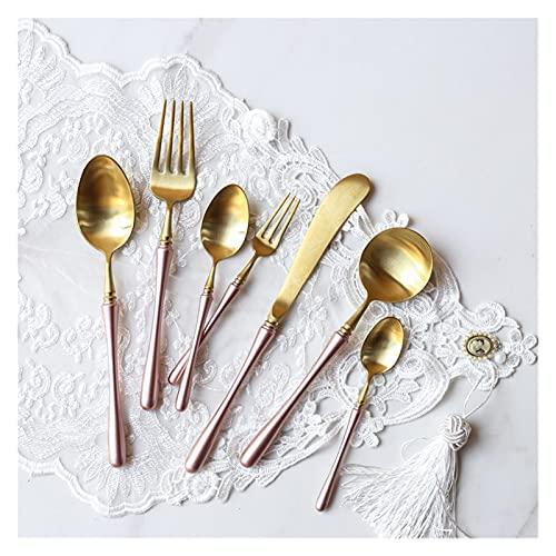 Juego de cubiertos vintage de lujo, 24 cuchillos de acero para comedor, tenedores, cucharillas y vajilla vintage occidental (color rosa y oro 24 piezas)