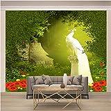 Fotomurales Tablas ,300 x 210 Cm,Foto 3D Mural Pared Barato Decorativo - Pavo Real Blanco