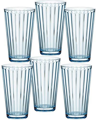Ritzenhoff & Breker 807011 Longdrinkgläser-Set Lawe Stripes, 6-teilig, je 400 ml, Hellblau, Glas, 400 milliliters, Blau