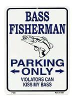 ブラックバスの釣り人専用駐車場★BASS FISHERMAN PARKING ONLY・釣り系★当店Sサイズ★アメリカンブリキ看板