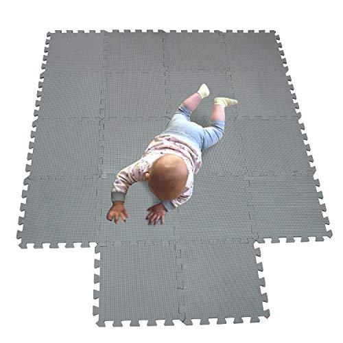 MQIAOHAM babymatten bodenmatte kinder matte play puzzelmatten puzzlematten schadstofffrei spielmatte teppich Grau 112