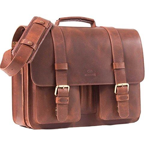 ALMADIH sac en cuir *ROY* Cartable bandoulière Marron Vintage serviette sac porté épaule Messenger sacoche Travail business ordinateur portable notebo