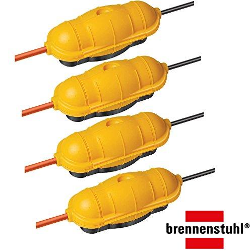 4er Pack Brennenstuhl Safe-Box Schutzkapsel für Kabel BIG IP44 outdoor gelb, 1160440 (4, Safebox BIG)