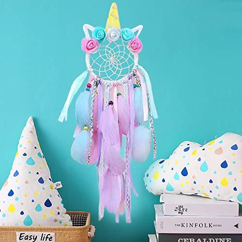 SPECOOL Einhorn Traumfänger Dreamcatcher mit Federn handgemachte Blume rosa Traumfänger für Mädchen Schlafzimmer Wandbehang Dekoration