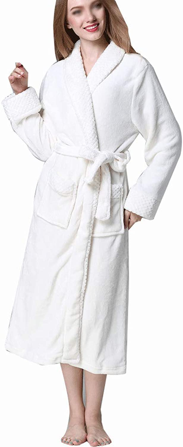 HONGNA Couple Bathrobes Autumn and Winter Flannel Bathrobe Thickening Large Size Coral Velvet Robe Long Hotel Bathrobe (color   White, Size   M)