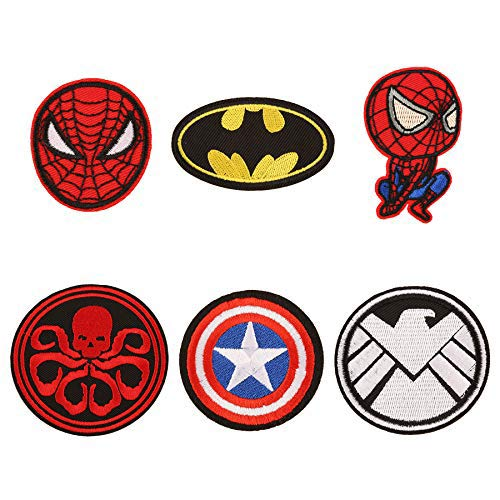 6 Pieces Cartoon Spiderman Captain America Hydra Shield Batman Logo Iron On Sew On Embroidered Patch for Jackets Backpacks Jeans and Clothes Badge Applique Sign Motif Decal