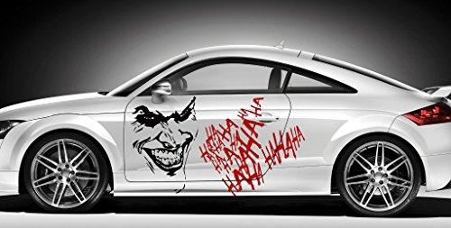 Finest Folia Joker Aufkleber Sticker + Schrift Hahaha Autoaufkleber Folie Carbon Matt Tuning KX011 KX029