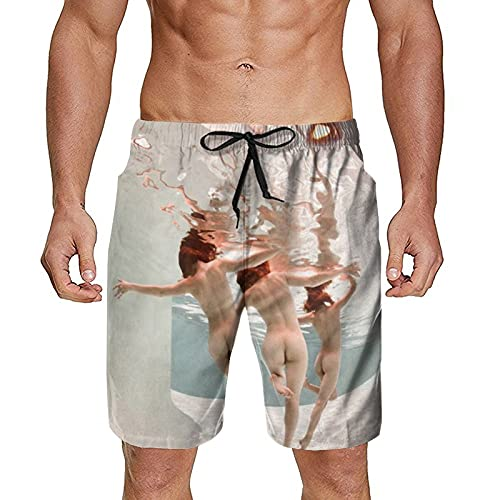 NiYoung Men Summer Surf Swim Trunks Casual Quick Dry Beach Board Shorts with Mesh Lining and Pockets Swimwear Bathing Suits - Sexy Women Girls Butt Under Sea Nude Art - XXL