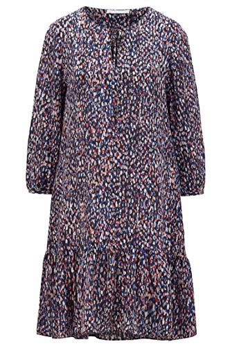BOSS Damen C Demmei Tunikakleid mit Allover-Print und Bindeband am Ausschnitt