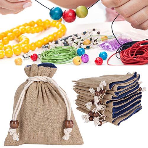 Eosnow Bolsas con cordón, fácil de Usar 10 Piezas Bolsa con cordón de Lino Materia Suave Ropa Duradera, para Playa Rural y Bodas al Aire Libre
